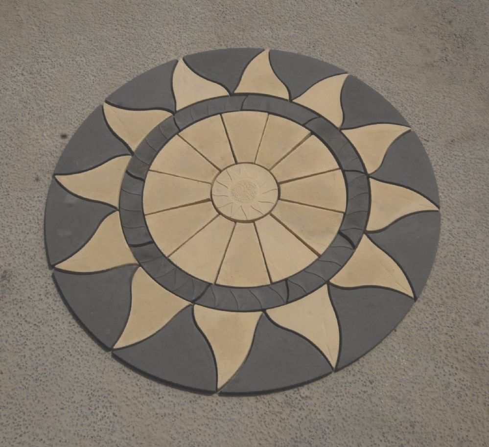 2560mm Aztec Sun Circle Buff / Slate Grey